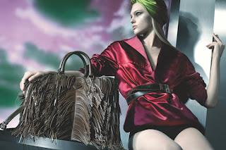 Celeb bag spotting Victoria Beckham Posh Spice with the Prada Napa Fringe Tote