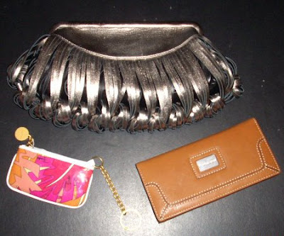 Katherine Kwei Donna lambskin clutch, Emilio Pucci coin purse, Michael Kors wallet