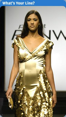 Santino Rice's (Project Runway Season 2 finalist) dress covered in gold pailettes