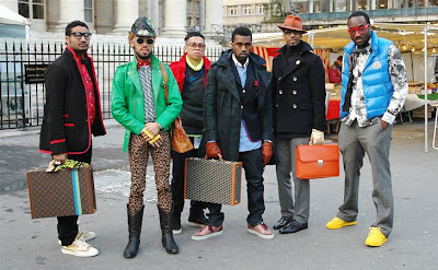 Kanye West and Entourage of Friends in Paris