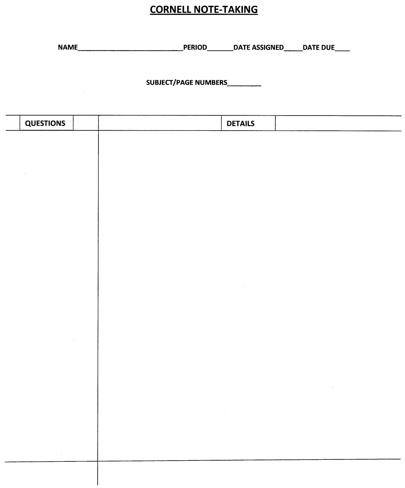 blank cornell notes template word .