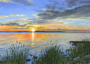 Lake sunset painting by artist Shari Erickson