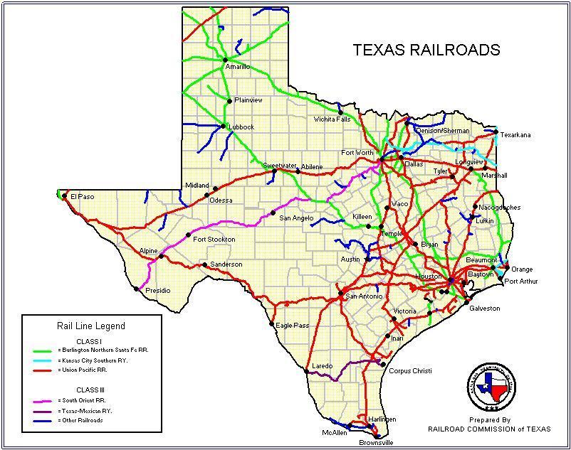 Railroad Map Texas