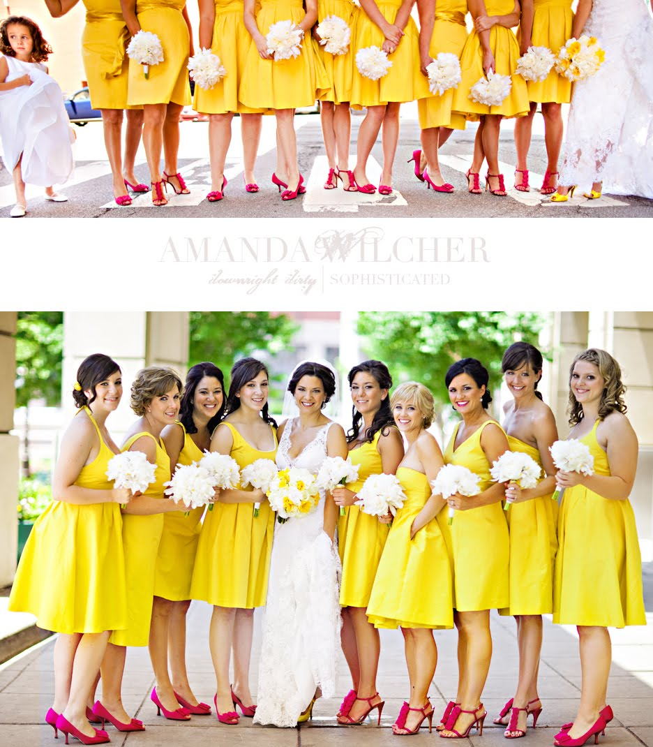 Pink And Yellow Wedding Dresses : Bridesmaid dress pink yellow dresses