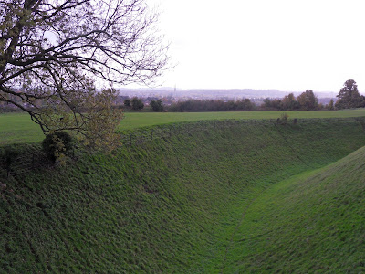 The ditch and wall around Old Sarum