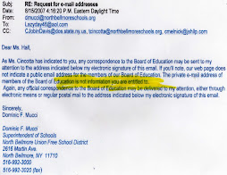 "Superintendent Mucci States that I am ""NOT ENTITLED""to contact North Bellmore BOE members!"