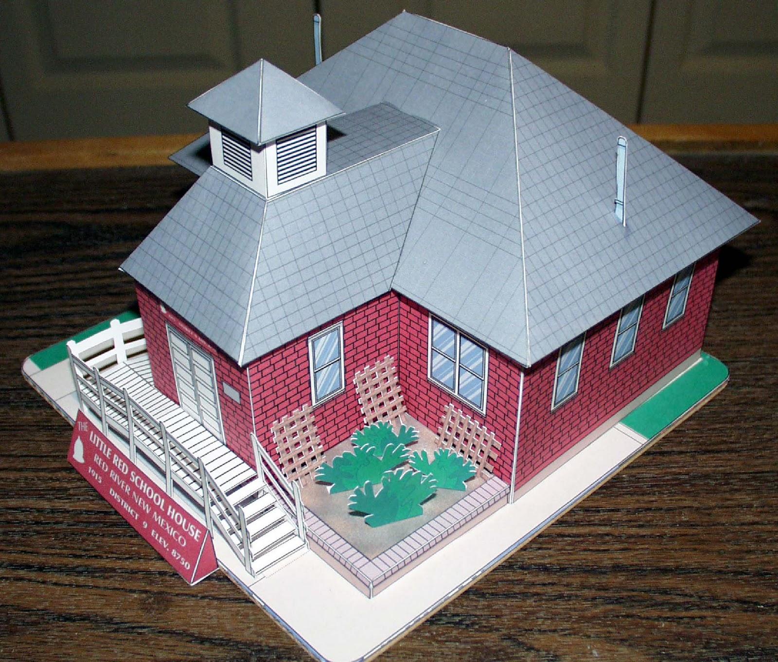 my little house red schoolhouse paper model. Black Bedroom Furniture Sets. Home Design Ideas