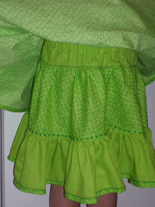 close up of  tiered green skirt