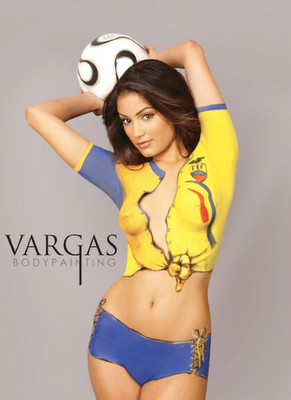 Soccer Girls Paintings Body With Colorful Sexy Paint Picture