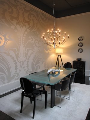 Walls wallpaper inspiration dining room for Wallpaper dining room ideas