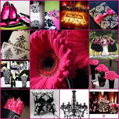 fuschia black and white with damask pattern