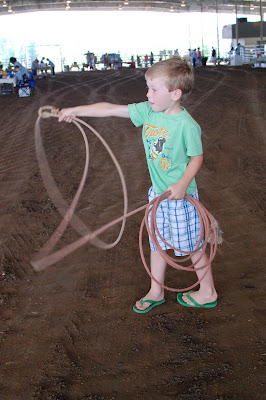 Grant trying to rope a bull