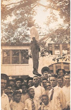 Postcard depicting the lynching of Lige Daniels, Center, Texas, USA, August 3, 1920.