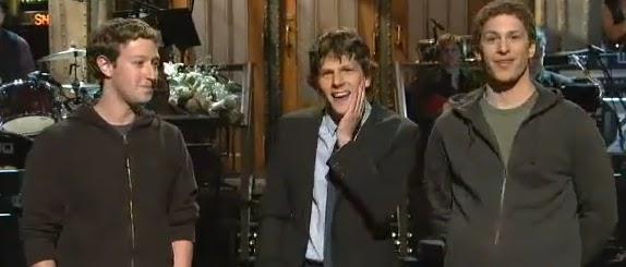 Mark Zuckerberg meets Jesse Eisenberg for first time on SNL (1/29/11)