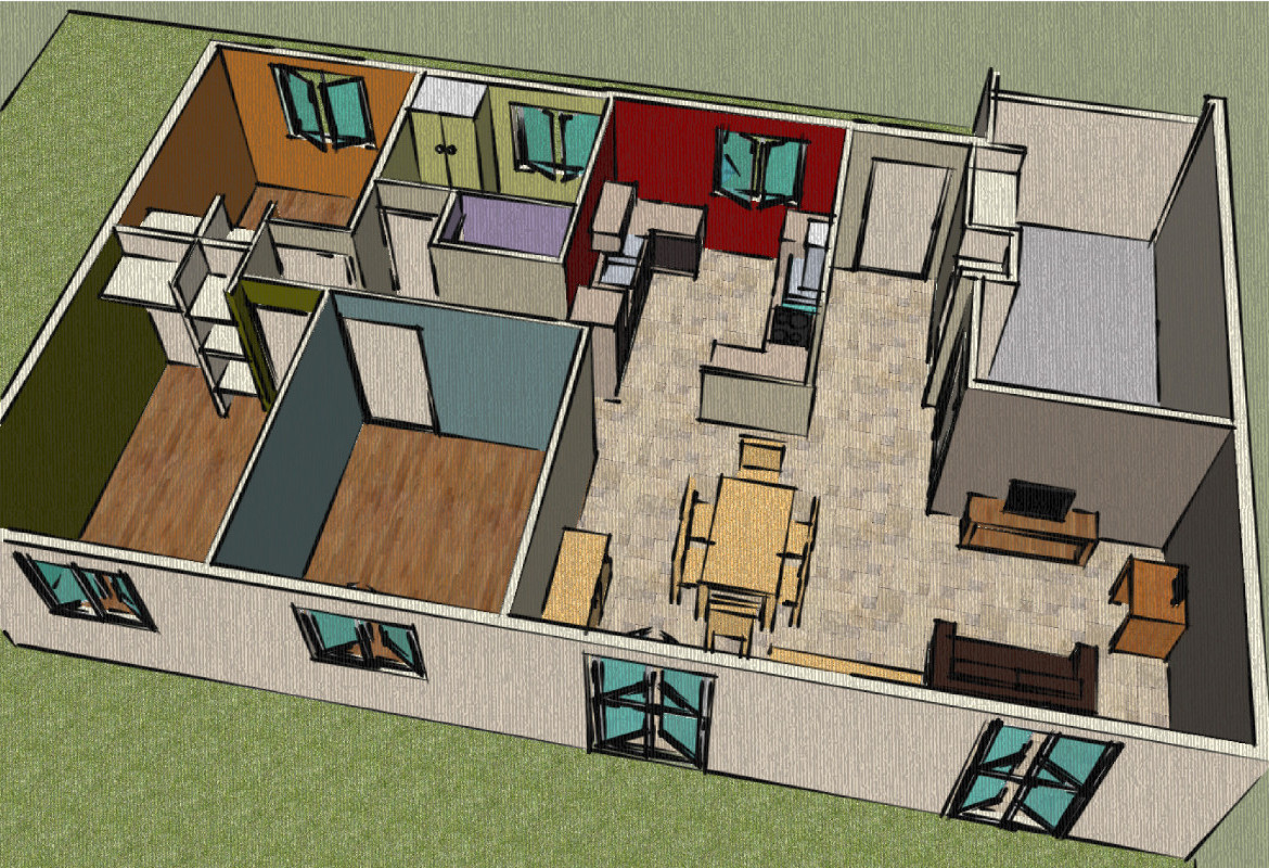 Sn architecture google sketchup for Sketchup plan maison