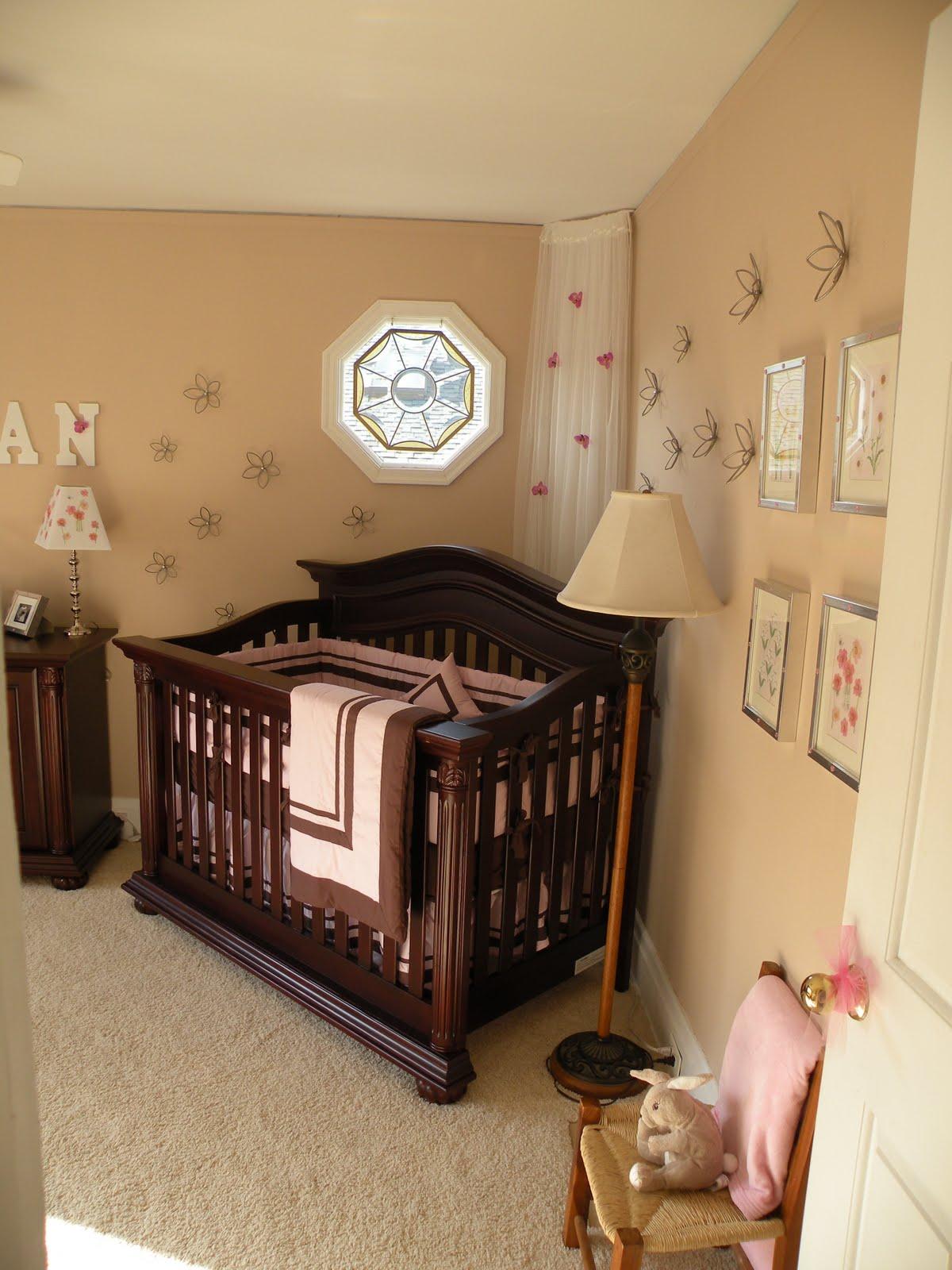 Baby Girl Beige Room Dark Furniture