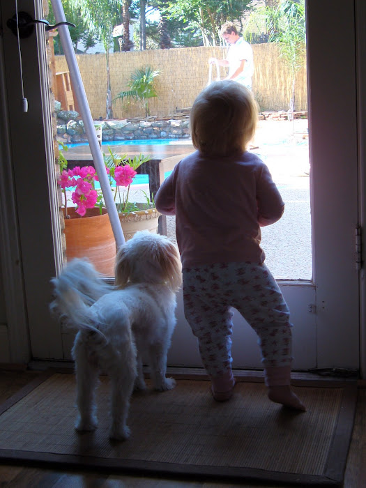 Bella and her buddy watchin Dad