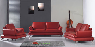 Site Blogspot  Sectional Living Room  on Modern European Style Red Dawn Leather Living Room Set