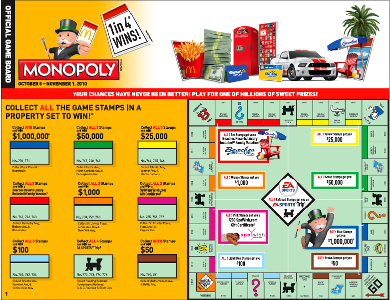 Mcdonalds Monopoly Game Board 2014 Mcdonalds Monopoly Game Board