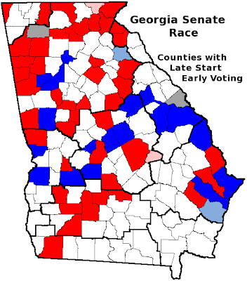 Frontloading HQ Georgia Senate Runoff Early Voting Day - Georgia voting map