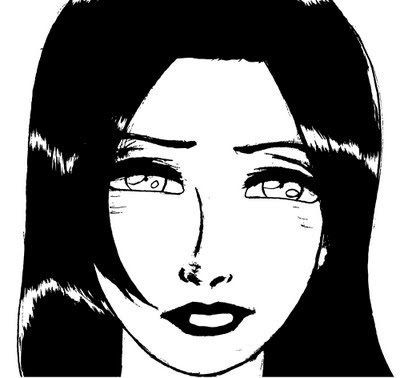 Lady Face, Black And White Drawing