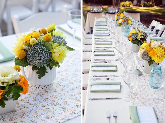 Party Inspiration Aqua Blue Yellow Wedding