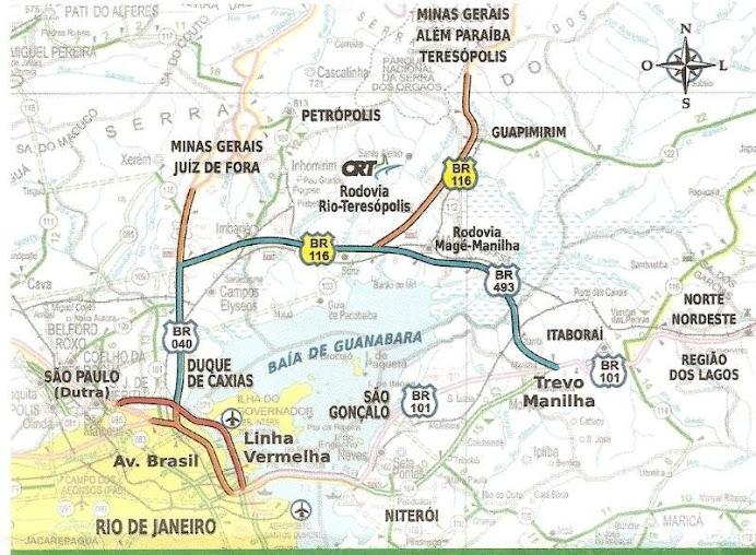 MAPA da Região CRT- Estrada Rio-Teresópolis