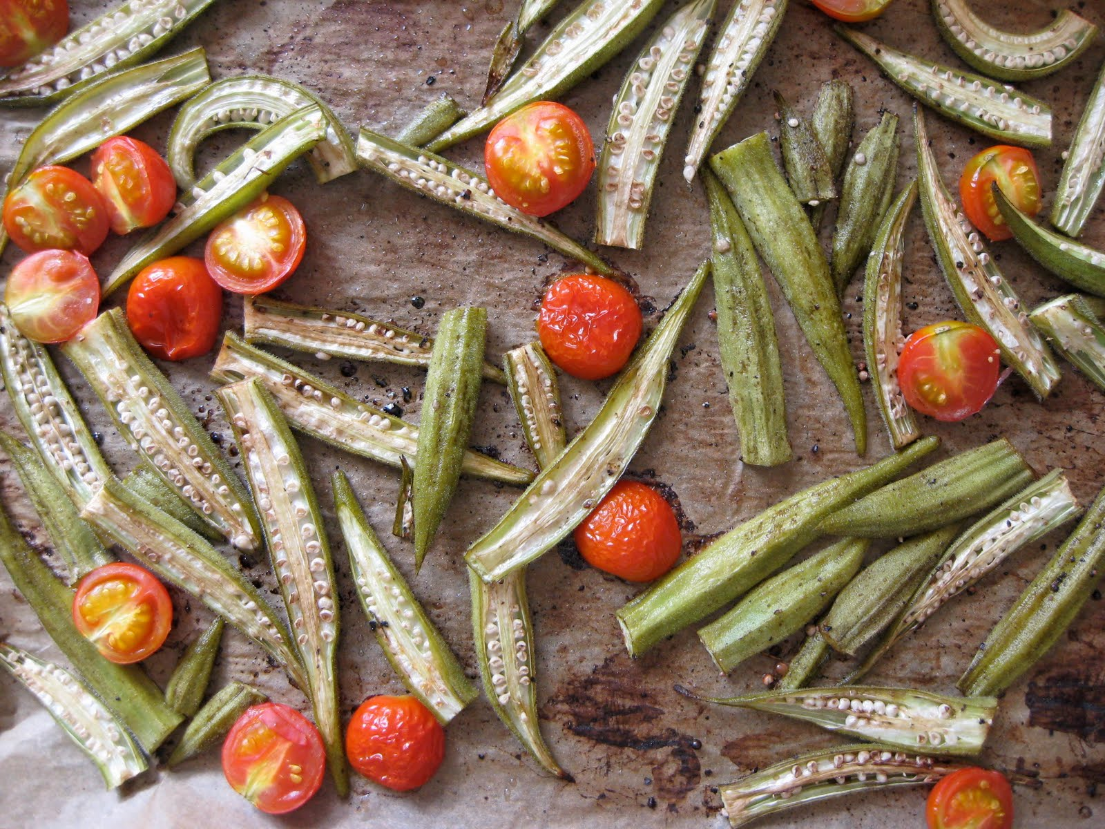 Girl In An Apron: Roasted Balsamic Okra and Tomatoes