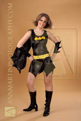 full length picture of bat girl in store bought costume with added boots