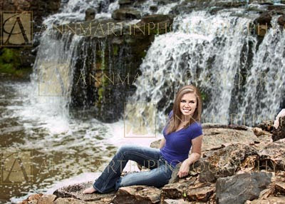 Plano West senior portraits photography and beautiful outdoor waterfall poses for girls