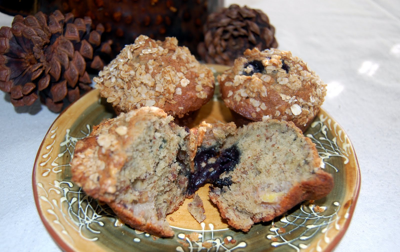 ... the Kitchen Blog: Banana Blueberry Pecan Muffins with Oatmeal Streusel