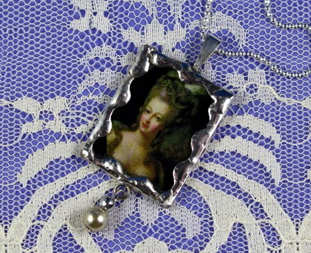"Friday  April 10, 2009  ""Marie Anntoinette"" Soldered  Pendant  w/ drop pearl"