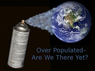 A can of pesticide sprays the Earth.  Has human overpopulation made us a pest?