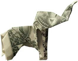 Beautiful money sculptures of Elephant