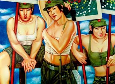 Beautiful Chinese Army Girls Paintings