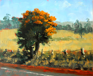 plein air oil painting wa christmas tree - nuytsia floribunda