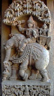 Indra on Elephant back weilding his Vajra