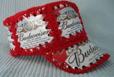 Crocheted Budweiser Beer Can Bucket Hat - BeerHatShop.com