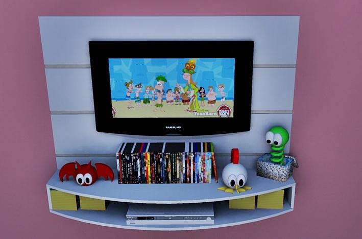 Sala De Tv Infantil ~ FERNANDEZ MÓVEIS PLANEJADOS Painél para TV LCD quarto infantil