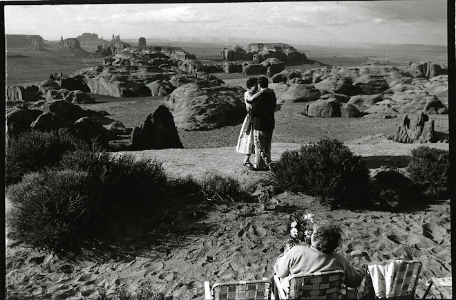 postnuptial dance over monument valley as the bride's mom looks on
