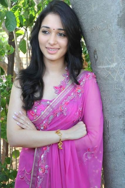 Actress Tamanna hot and sexy in pink saree