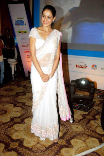 Hot and sexy Genelia in white saree latest stills