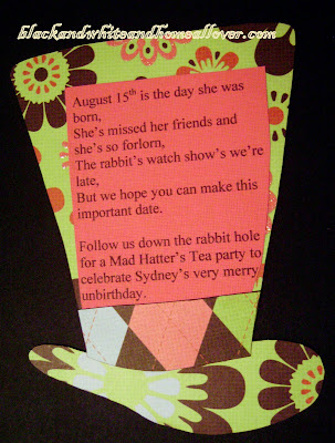 And voila a mad hat invitation. I'm linking this to Maman Tattoo's $  15