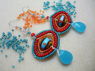 #GBER152 = SUMMER WISH Beaded Earrings - Bold and Striking, This pair of Earrings will surely turn curious heads ! Made of securely wirewrapped Seed Beads & Chalcedony Blue Glass Teardrop Beads with  Non tarnish Silver Artistic Beading Wire ~ Price = US$25.00 (S25)
