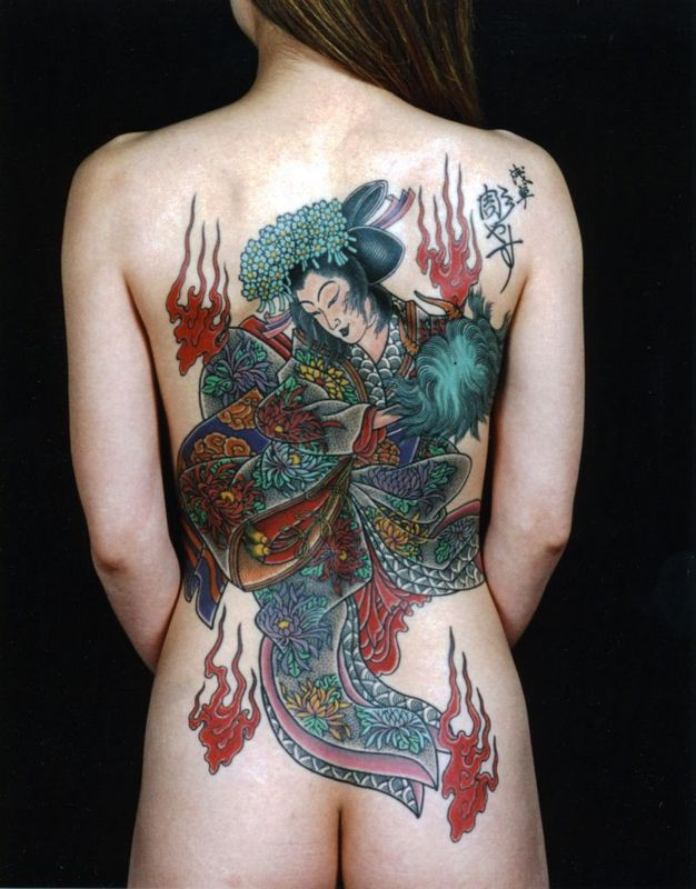 Various Woman Back Tattoos 12