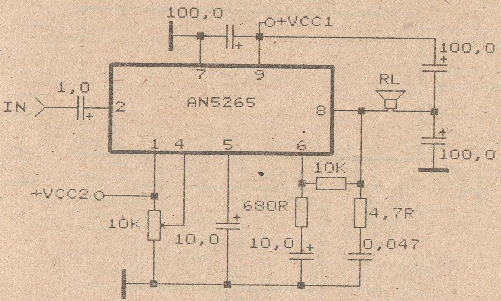 schematic audio amplifier with ic an5265 subwoofer bass amplifierschematic audio amplifier with ic an5265
