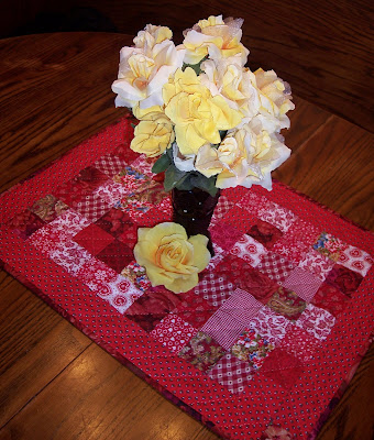 Red Table Topper Using Quilt Squares
