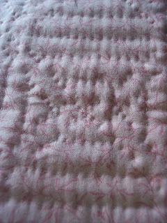 hand quilted Little Pink Quilt in Log Cabin Pattern