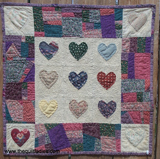 Heart Quilt Machine Pieced and Hand Applique, Hand Quilted.