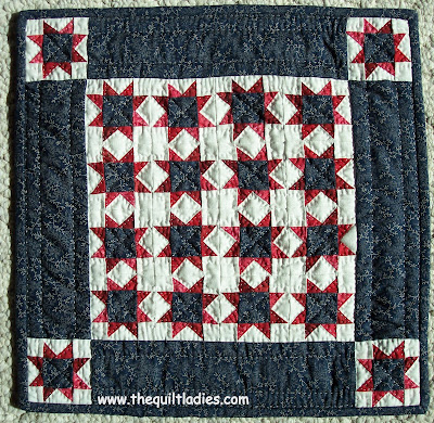 Little Quilt in Red, White and Blue, machine pieced and hand quilted